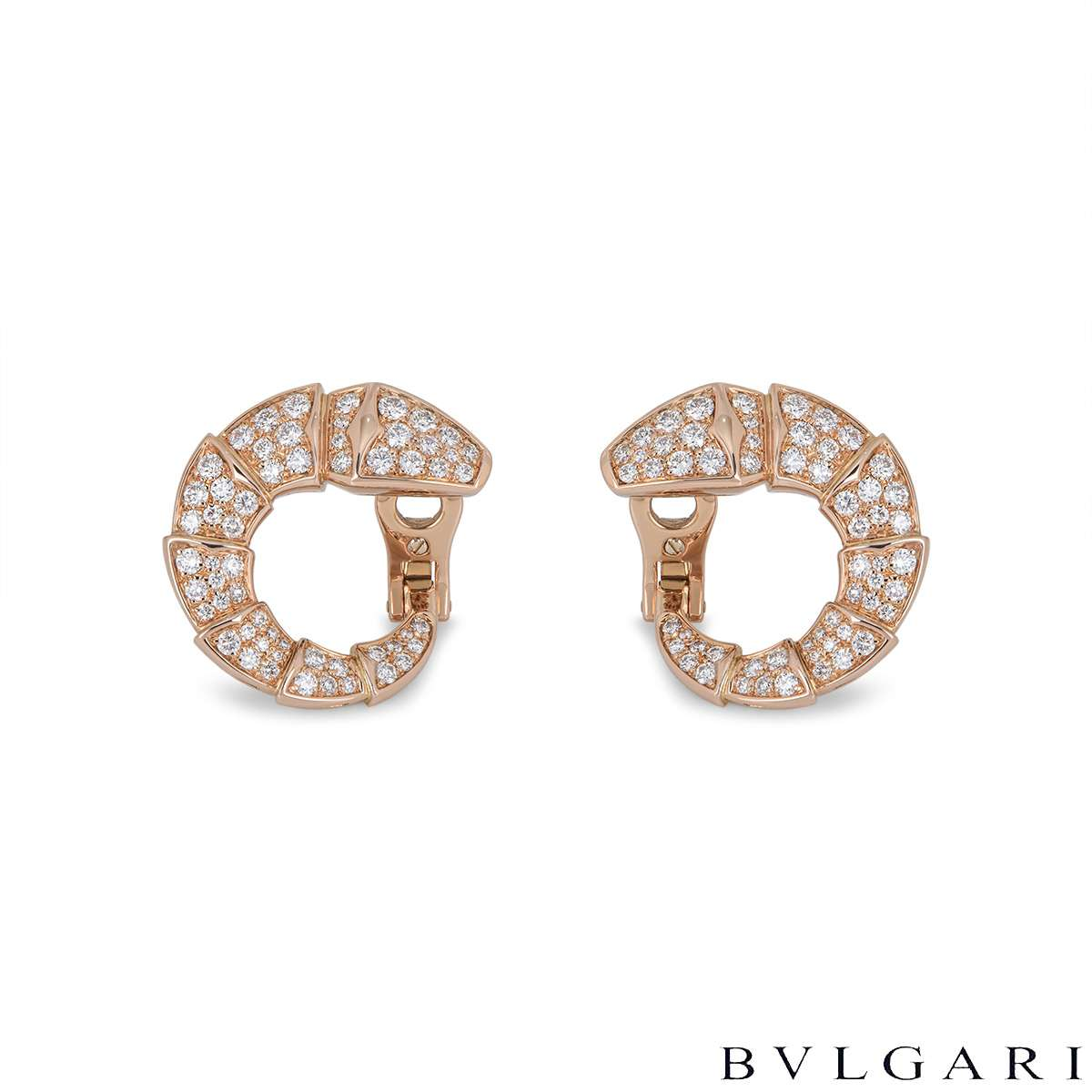 Bvlgari Rose Gold Diamond Serpenti Earrings
